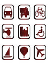 Icons for different kind of transportation Stock Image