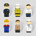 Icons of different professions set six for Royalty Free Stock Images