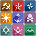 Icons of the different symbols set color Royalty Free Stock Photography