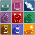 Icons of different watch set colors Stock Images