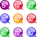 Icons discount stock image set of with discounts Royalty Free Stock Image