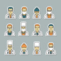 Icons doctors face, medical items and drugs. Royalty Free Stock Photo