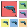 Icons of drill colorful illustration with for your design Royalty Free Stock Photos