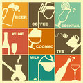 Icons of drinks images various in retrostyle Stock Photography