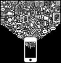 Icons dropping into smartphone black and white illustration of multiple computer technology and application a or iphone Stock Photos