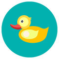 Icons duck of toys in the flat style. Vector image on a round colored background. Element of design, interface. Royalty Free Stock Photo