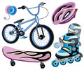 Icons for extreme skiing vector illustration Royalty Free Stock Photo
