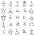 Icons fitness, exercise, gym equipment, sports, activity, recreation, nutrition. Thin lines. Royalty Free Stock Photo