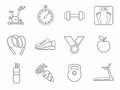 Icons, fitness, sports, gym, healthy eating, contour, line, monochrome.