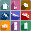 Icons of food and drinks set different color Royalty Free Stock Image