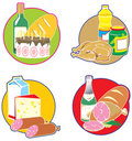 Icons with foods and drinks. Stock Images