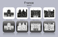 Icons of france landmarks set monochrome editable vector illustration Stock Photos