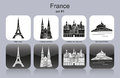 Icons of france landmarks set monochrome editable vector illustration Royalty Free Stock Photo