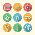 Icons for freelance and business set of circle colored with white silhouette symbols or Stock Image