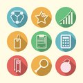 Icons for freelance and business set of circle colored with white silhouette symbols or Royalty Free Stock Photography