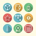 Icons for freelance and business set of circle colored with white silhouette symbols or Royalty Free Stock Photo