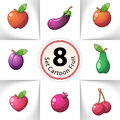 Icons fresh fruit. Pineapple, pear, lemon, melon, mango, orange, kiwi, lime, apricots, cherries, apple, pear, heart Royalty Free Stock Photo