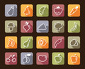 Icons of fruit and vegetables simple symbols on colour buttons Stock Images