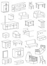 Icons furniture line on a white background