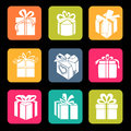Icons gift metro style interface mobile applications Royalty Free Stock Photography