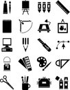 Icons of graphic and plastic arts Royalty Free Stock Photo