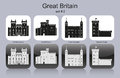 Icons of great britain landmarks set monochrome editable vector illustration Stock Image