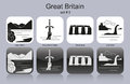 Icons of great britain landmarks set monochrome editable vector illustration Stock Images