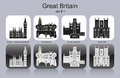Icons of great britain landmarks set monochrome editable vector illustration Royalty Free Stock Photo