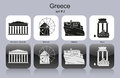 Icons of greece landmarks set monochrome editable vector illustration Stock Images