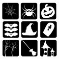 Icons of halloween nine different celebrating material sillhouettes Stock Photos