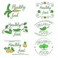 Icons for healthy food and organic products drawn by hand. Set of labels for the food market