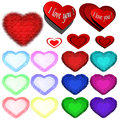 Icons of hearts colored isolated on white Royalty Free Stock Photos