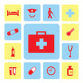 Icons hospital set from illustration Royalty Free Stock Image