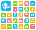 Icons on a hotel theme icon of service Royalty Free Stock Photos