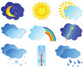 Icons with images weather Royalty Free Stock Photos