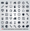 Icons for internet travel communication and media set of business Royalty Free Stock Images