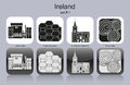 Icons of ireland landmarks set monochrome editable vector illustration Royalty Free Stock Photos