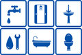 Icons with isolated bath objects on white background Stock Photos