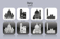 Icons of italy landmarks set monochrome editable vector illustration Stock Photos