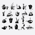 Icons on a kitchen theme set of utensils in Stock Photos