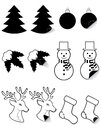Icons labels for christmas and new year black silh silhouette vector illustration isolated on white background Stock Photography