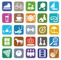 Icons, leisure, entertainment, tourism, color, flat.