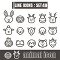 Icons line face animal Modern design black vector on white backg Royalty Free Stock Photo