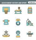 Icons line set premium quality of achiement victory sport icon champion first place. Modern pictogram collection flat design style