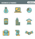 Icons line set premium quality of business economic development, financial growth. Modern pictogram collection flat design style.