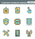 Icons line set premium quality of cloud data technology services, global connection. Modern pictogram collection flat design style