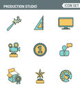 Icons line set premium quality of content production studio, solution projecting. Modern pictogram collection flat design style. Royalty Free Stock Photo