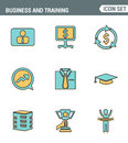 Icons line set premium quality of corporate management and business leader training. Modern pictogram collection flat design style