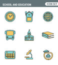 Icons Line set of premium quality elementary school objects and education items, learning symbol student equipment.