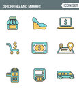 Icons line set premium quality of shopping symbol, shop elements and commerce items, market objects store products.